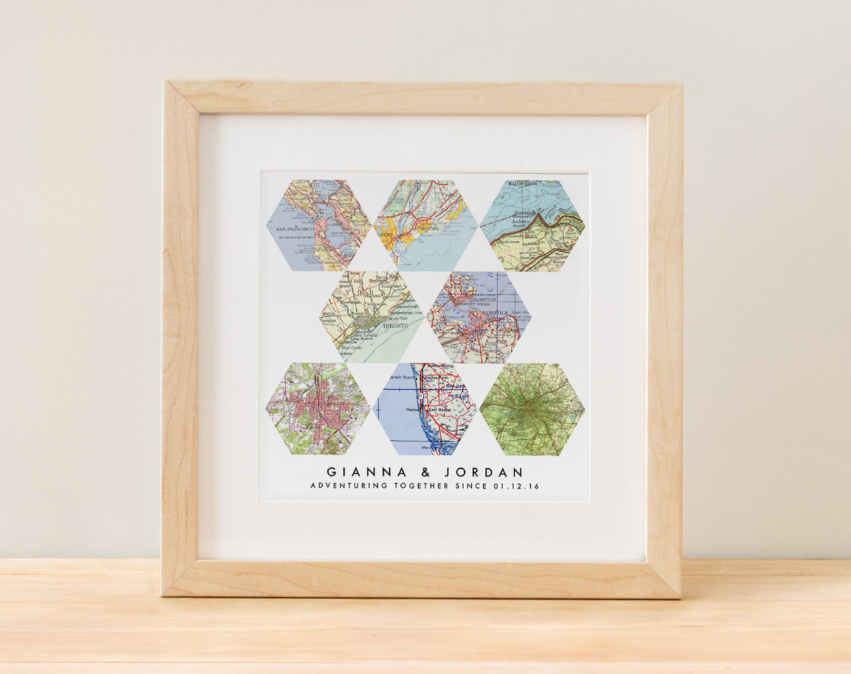 Geometric Map Art -  8 Customized Maps  $85 5+ maps, anniversary, engagement, geometric, Weddings A. Gier Design A Gier Design