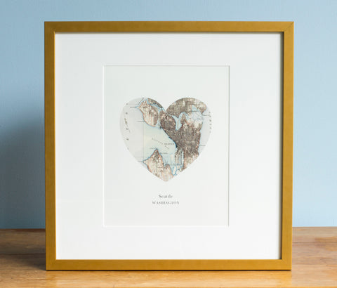 Seattle, Washington - Heart Map Print