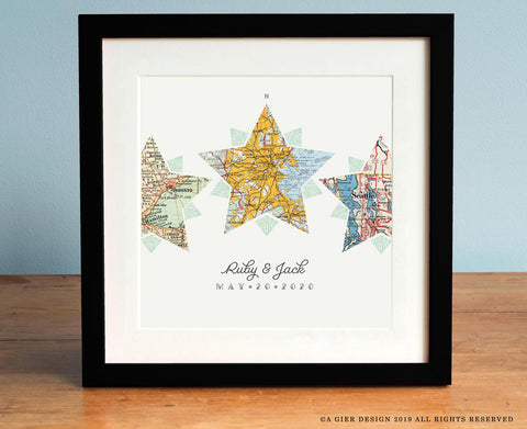 Compass Star 3 Vintage Map Personalized Art Print with Custom Script Names