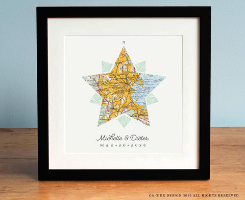 Compass Star Vintage Map of Any City
