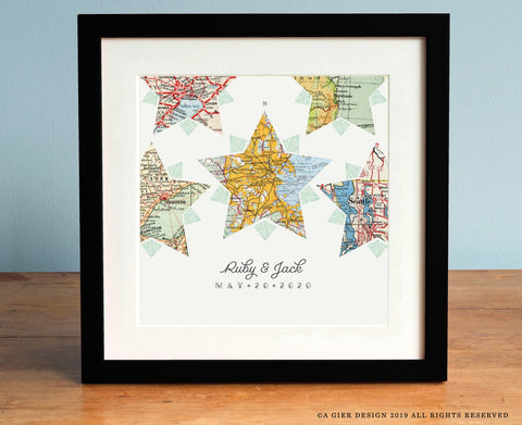 Compass Star 5 Vintage Map Personalized Art Print with Custom Script Names