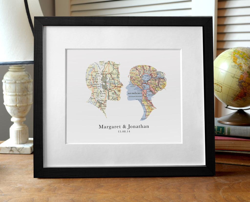 Wedding Cameo - Map Print