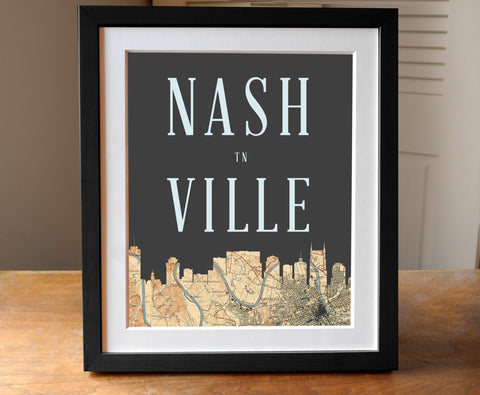 Nashville, Tennessee - Skyline Map Print