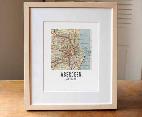 Aberdeen, Scotland - Square Map Print