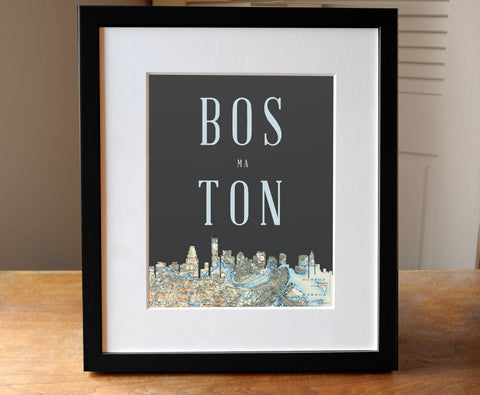 Boston, Massachusetts - Skyline Print