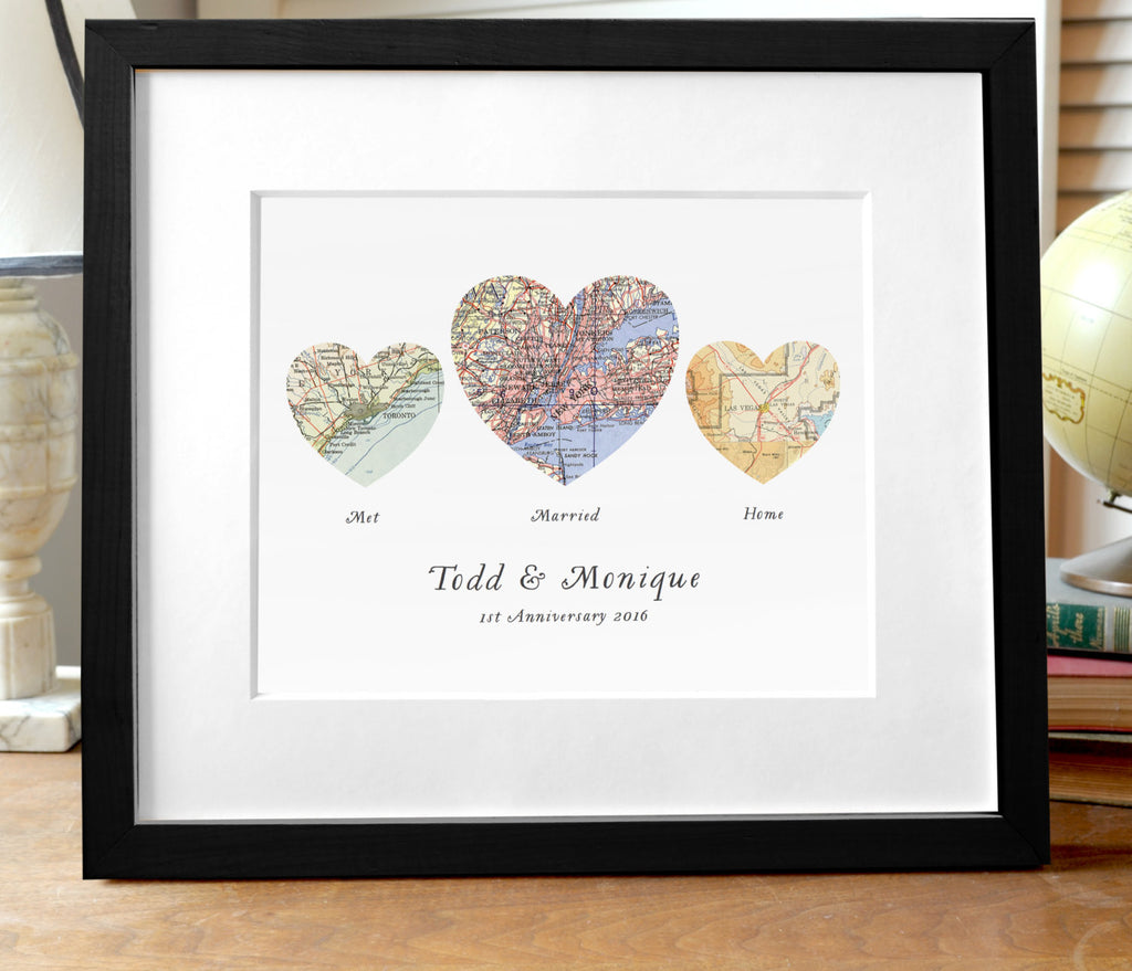 3 Heart Map Print - Met, Married, Home