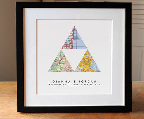 3 Map Triangle Print - Square