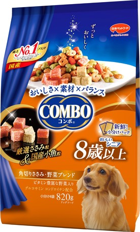 Japan combo two-in-one healthy dog snack square cut meat/vegetable mix 820g (suitable for dogs 8 years or older)