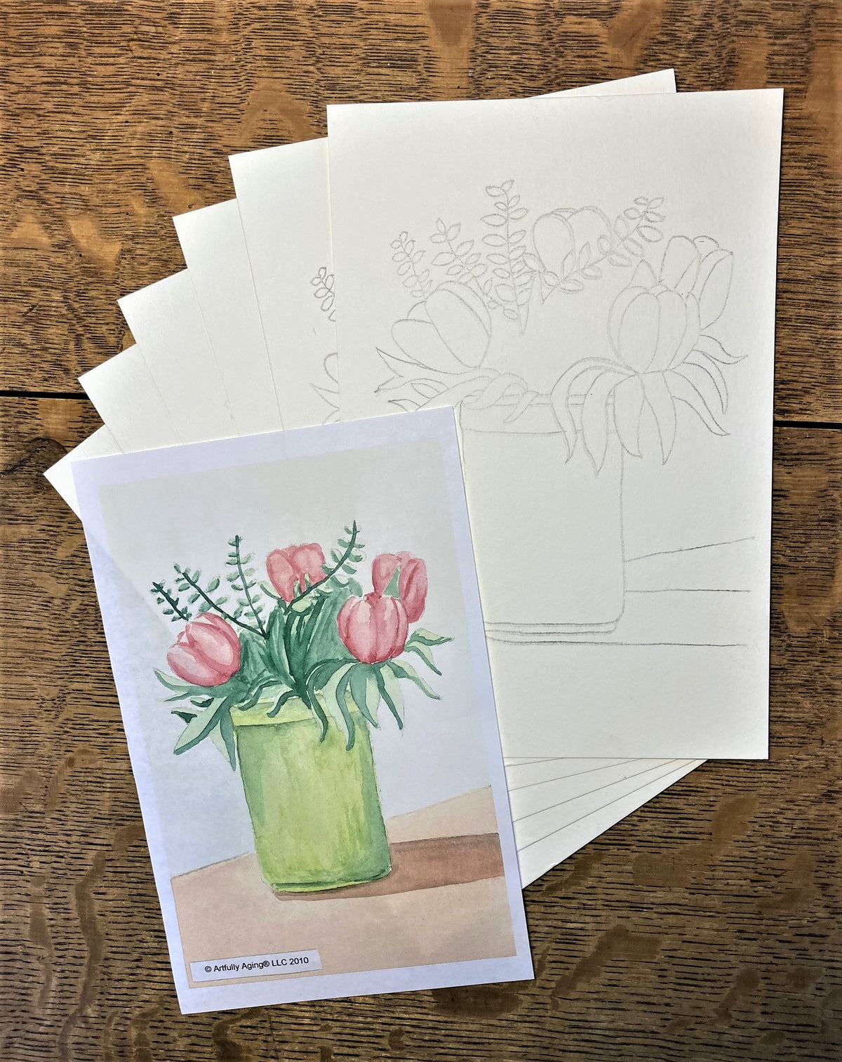 Tulips in Tall Vase