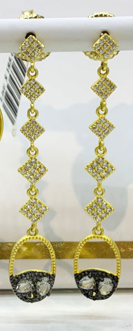 Freida Rothman, Sterling Silver, CZ 14K Gold Vermeil & Black Rhodium Earrings
