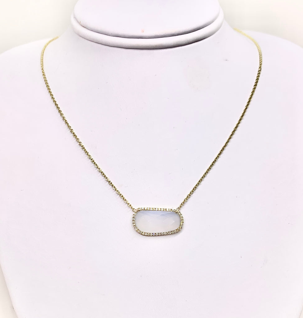 14K Yellow Gold Diamond & Quartz Necklace