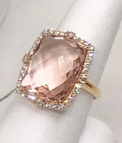 18K Rose Gold Diamond & Checkered Cut Morganite Ring.