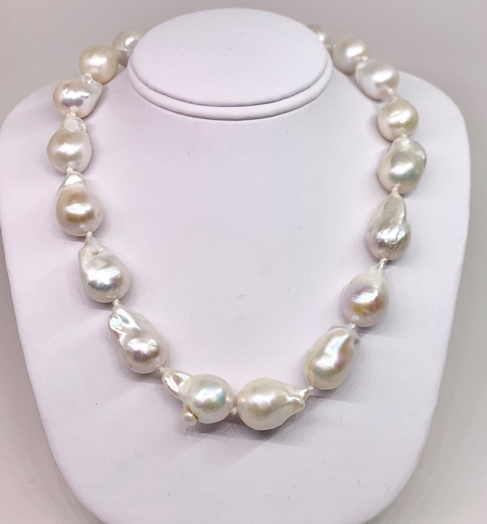Large White Baroque Freshwater Pearl Necklace