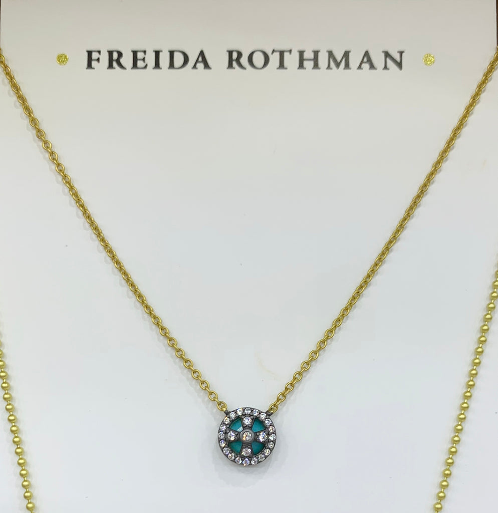 Freida Rothman Sterling Silver 14K Yellow Gold Vermeil, CZ & Turquoise Necklace