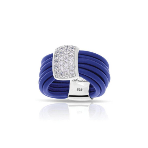 Sterling Silver, CZ & Italian Blue Rubber Ring