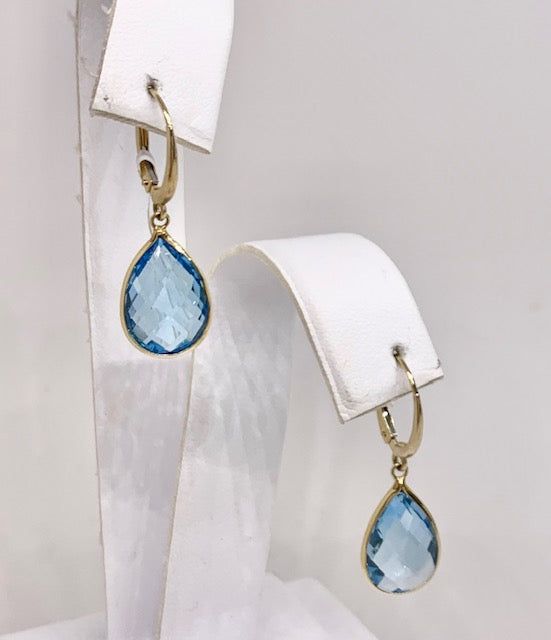 14K Yellow Gold & Blue Topaz Drop Earrings