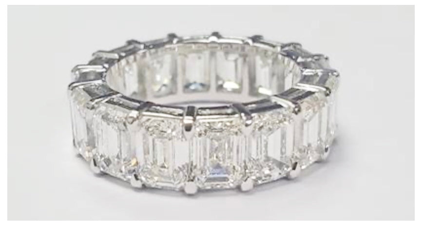 Platinum & Diamond Emerald Cut Eternity Ring