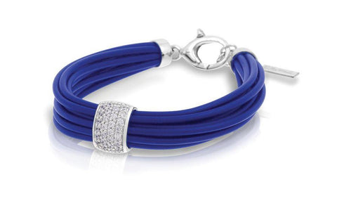 Sterling Silver CZs and Italian Blue Rubber Bracelet