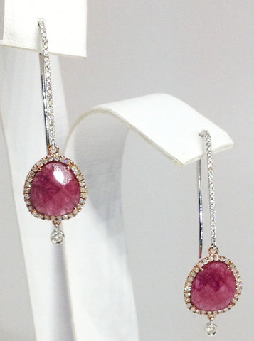 14K White & Rose Gold Ruby & Diamond Earrings