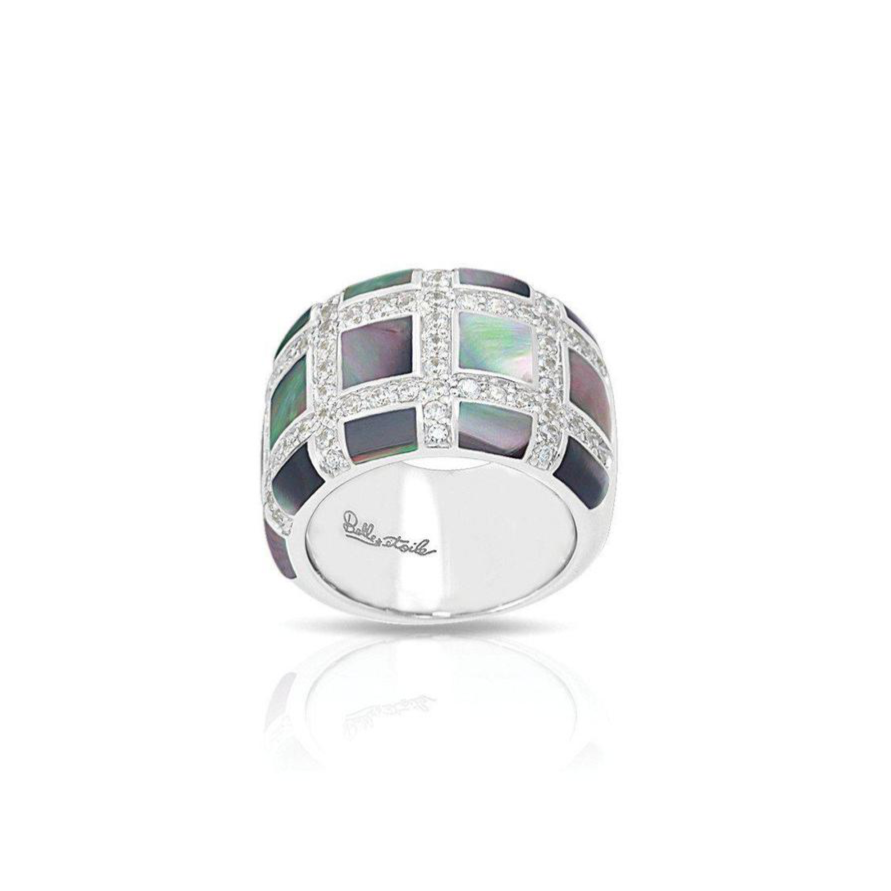 Sterling Silver Black Mother of Pearl & CZ Ring