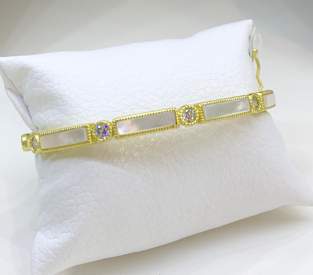 Freida Rothman Sterling Silver, 14K Yellow Gold Vermeil, Mother of Pearl, & CZ  Hinge Bangle