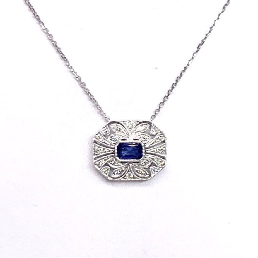 18K White Gold, Diamond & Blue Sapphire Necklace