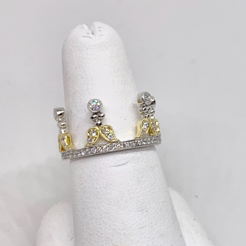 18K Yellow & White Gold Diamond Crown Ring