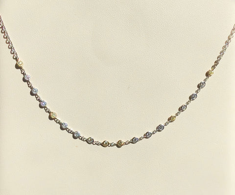 18K White & Yellow Gold Yellow & White Diamond Necklace