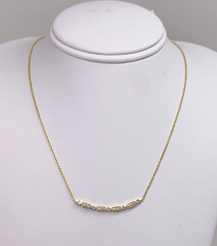 14K Yellow Gold & Milgrain Diamond Necklace