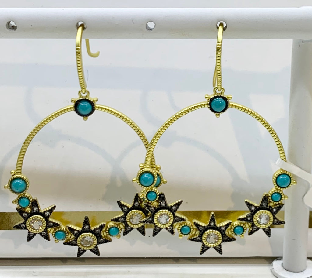 Freida Rothman, Sterling Silver,14K Gold Vermeil CZ, & Turquoise Earrings