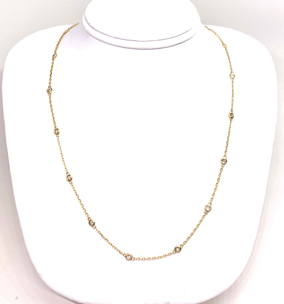14K Yellow Gold & Diamond Bezeled Necklace