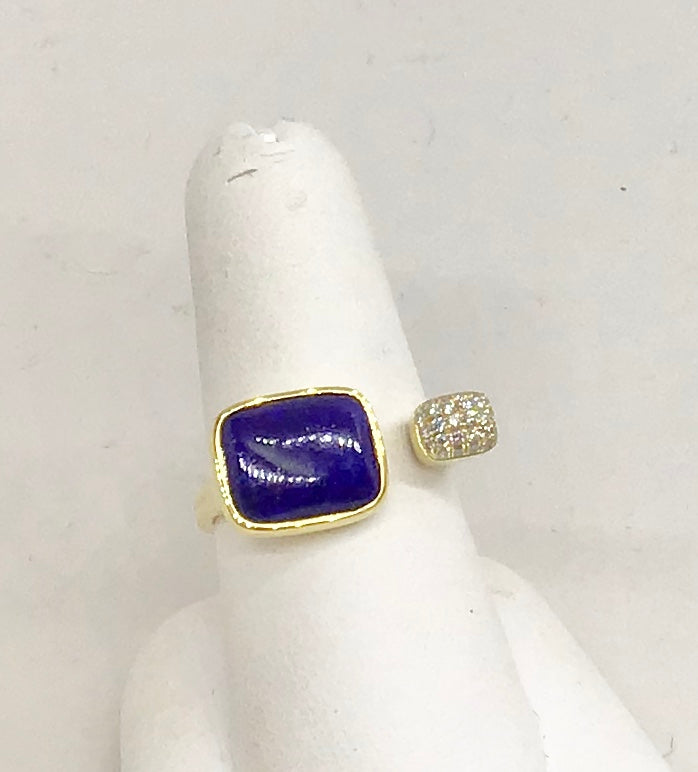 14K Yellow Gold Lapis & Diamond Ring