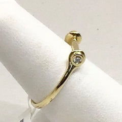 14K Yellow Gold & Diamond Bar Ring