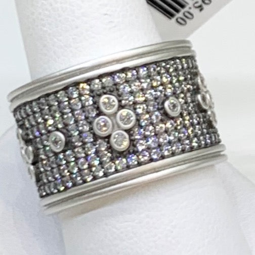 Freida Rothman, Black Rhodium Sterling Silver, & CZ Cigar Band Ring.