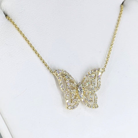 14K Yellow Gold & Diamond Butterfly Neckace