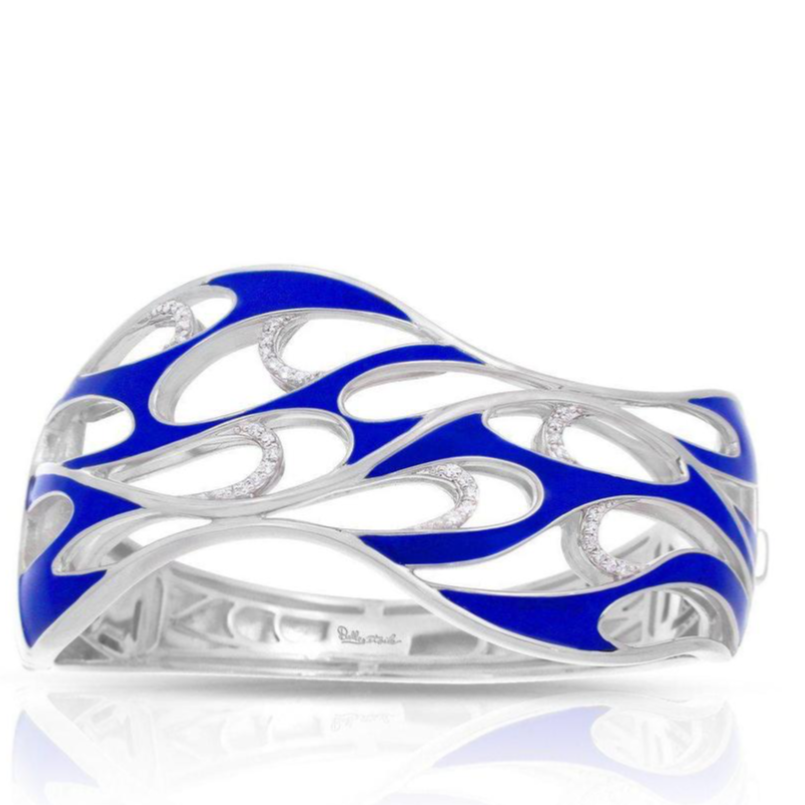Merea Sterling Silver, CZ, Italian Blue Enamel Bangle