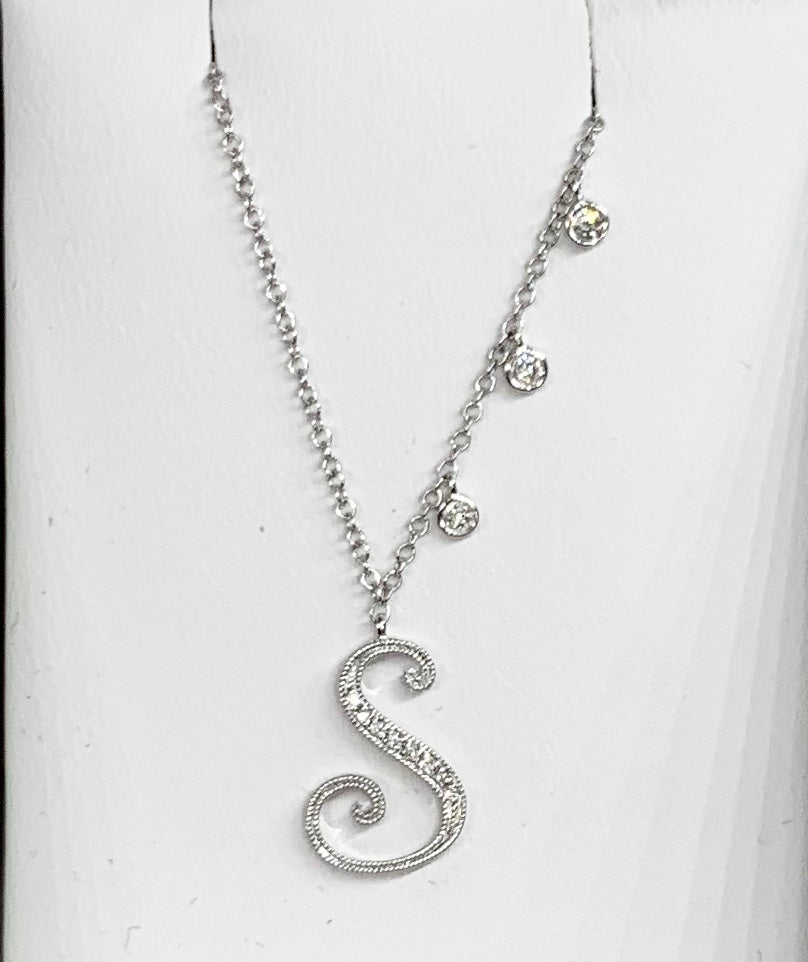 "Meria T 14K White Gold & Diamond Initial ""S"" Necklace"