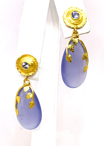 Lika Behar 24K Yellow Gold Sapphire & Chalcedony Earrings