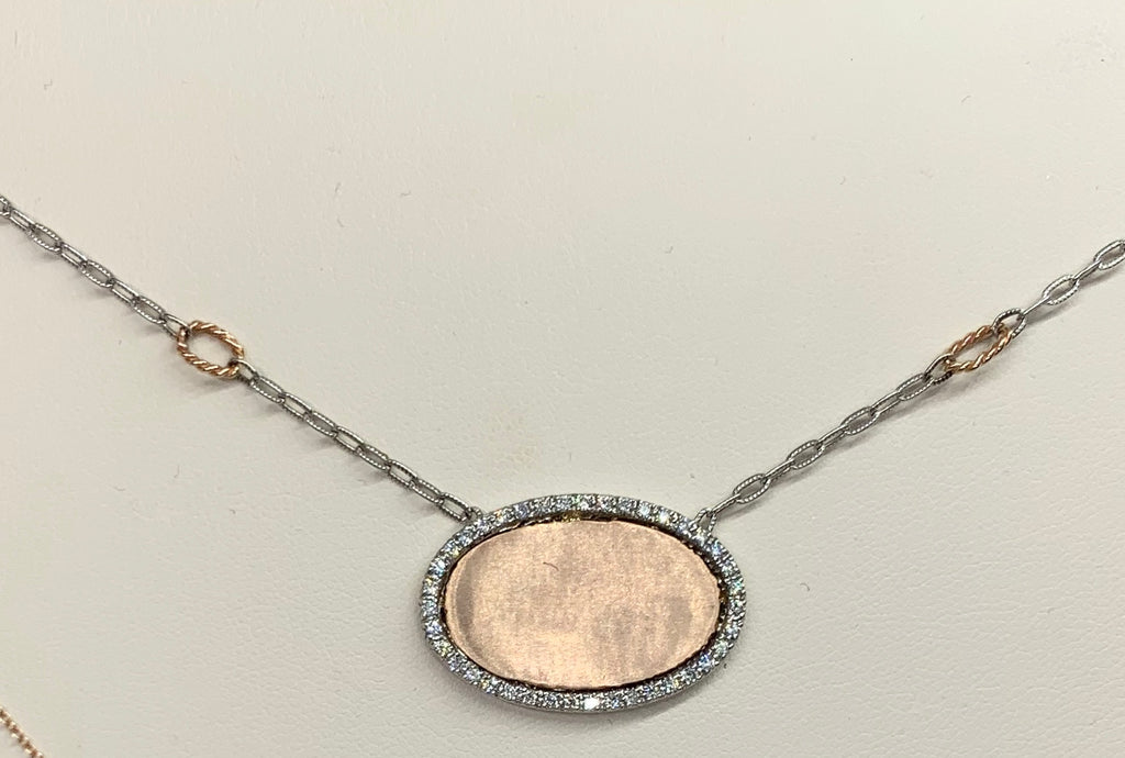 14K Rose Gold, Sterling Silver & Diamond Monogram Necklace