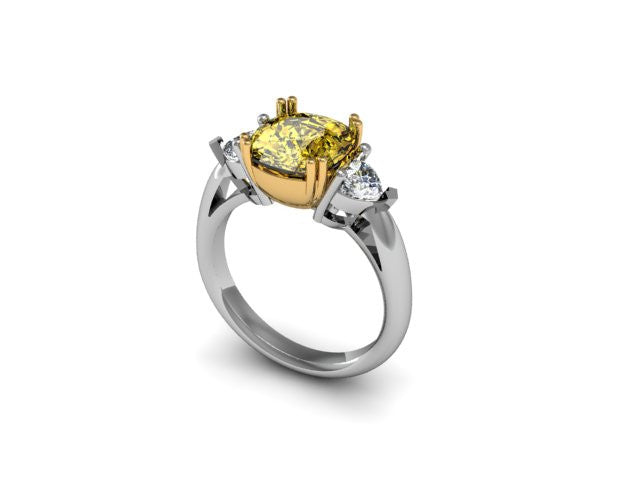 Custom Yellow Diamond & White Diamond Ring