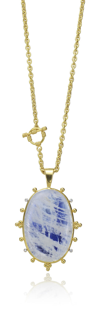 "14K Yellow Gold 17"" Chain with 14K Moonstone & Diamond Pendant"