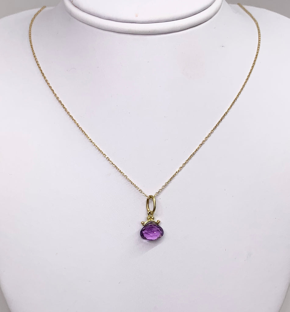 18K & 14K Gold & Amethyst Charm Necklace