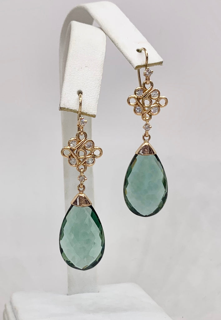 18K Rose Gold, Green Quartz & White Sapphire Earrings