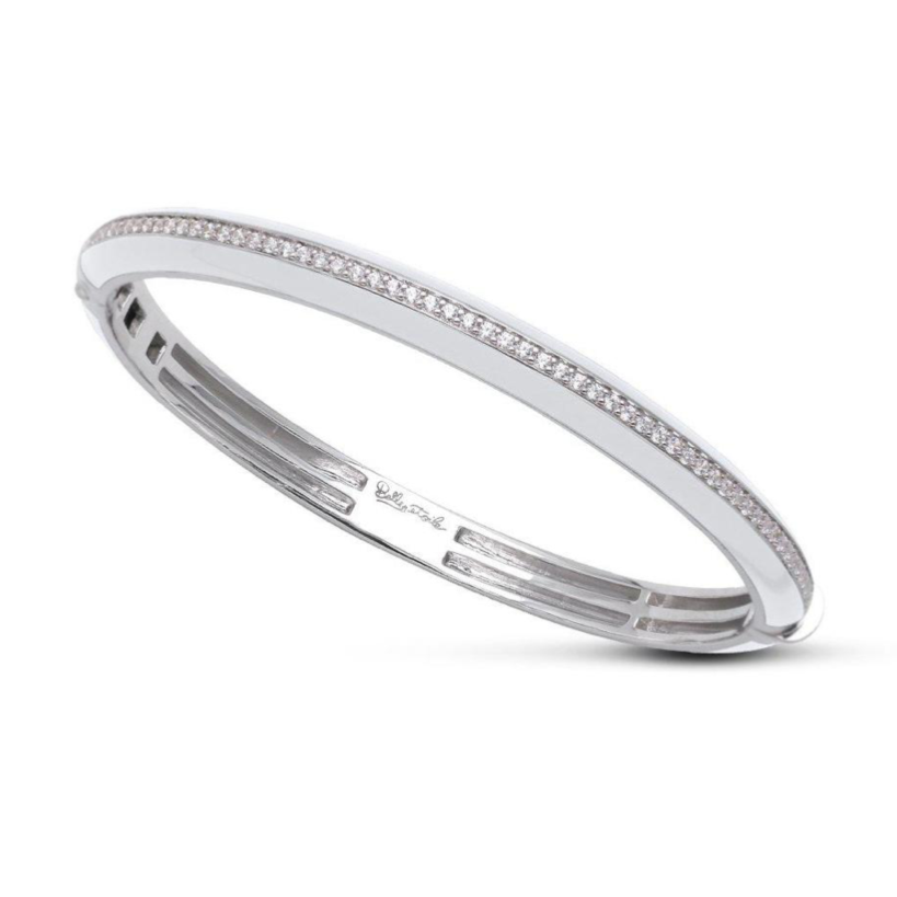 Tenuto Sterling Silver, White Italian Enamel, CZ Hinge Bangle
