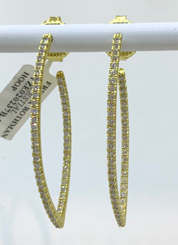 Freida Rothman, Sterling Silver, 14K Gold Vermiel & CZ Earrings