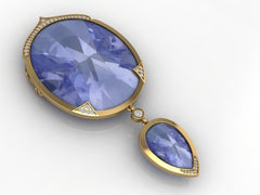 Custom Design 18K Yellow Gold Tanzanite and Diamond Pendant