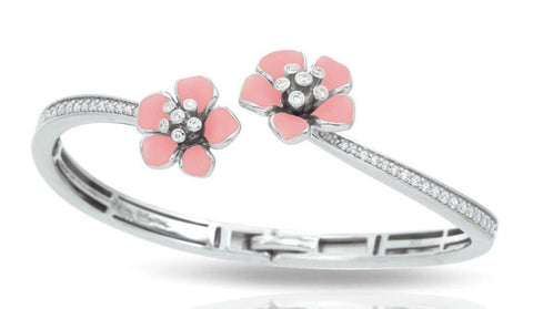 Forget Me Not, Sterling Silver, Pink Italian Enamel Flower, & CZ Hinge Bangle