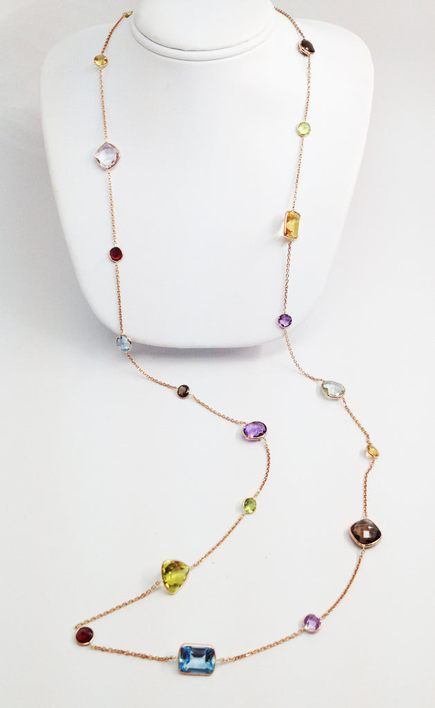 "14K Rose Gold 36"" Necklace with Semi-Precious Stones"