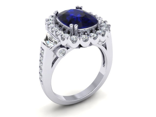 Custom White Gold Sapphire & Diamond Ring