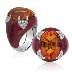18K  White Gold Diamond, Citrine & Enamel Ring